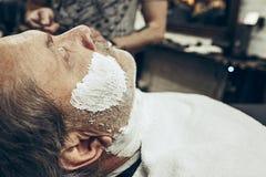 Zakończenie bocznego widoku portret przystojny starszy brodaty caucasian mężczyzna dostaje brodę przygotowywa w nowożytnym zakład Obrazy Royalty Free
