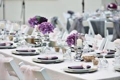Zakończenie cateringu stołu set Zdjęcia Royalty Free