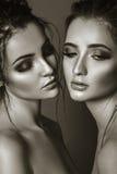 Zakończenie czarny i biały portret dwa pięknej kobiety Glamou zdjęcia stock