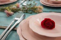 Zakończenie czerwieni róża w pucharze Zdjęcia Stock