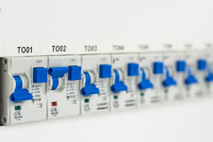 Zakończenie elektryczni fuseboxes zdjęcie royalty free