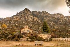 Zakończenie ermitaż San Isidro w El Boalo Madryt Hiszpania zdjęcie stock