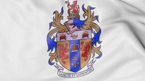 Zakończenie falowanie flaga z królewiątko szkoły wyższa emblemata 3D Londyńskim renderingiem ilustracji