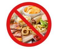 Zakończenie fast food up przekąsza za żadny symbolem Obrazy Stock
