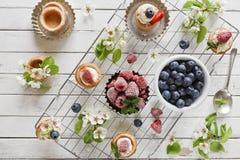 Zakończenie fotografia domowej roboty torty z mascarpone serem, cynamonem, truskawkami, czarnymi jagodami i pięknym dzikim jabłon Fotografia Stock