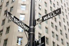 Zakończenie fotografia Wall Street Podpisuje wewnątrz Wall Street, Manhattan, usa Obrazy Stock