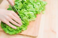 Zakończenie kobieta wręcza siekać zielonej rośliny w domu sałatkowa kulinarna sałatka od warzyw na drewnianej tnącej desce _ Zdjęcie Royalty Free