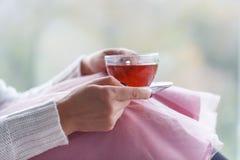 Zakończenie kobiety ` s up wręcza trzymać filiżankę herbata, być ubranym białego pulower i cieszyć się wolnego czas, Zdjęcia Royalty Free