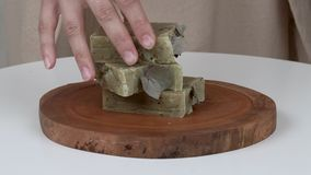 Zakończenie kobiety ` s wręcza stawiać bary mydło na round drewnianej tacy W końcówce stawia gałązkę przed stosem zbiory