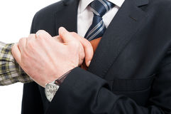Zakończenie kraść portfel od kurtki kieszeni ręka Zdjęcie Royalty Free