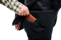 Zakończenie kraść portfel od plecy kieszeni ręka obrazy royalty free