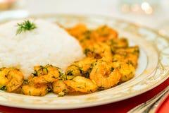 Zakończenie krewetka z ryż zdjęcie royalty free