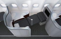 Zakończenie luksusowy klasy business siedzenie z frosted akrylowym rozdziałem Obraz Stock