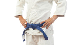 Zakończenie mężczyzna w białym kimonie dla dżudo Zdjęcie Stock