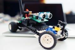 Zakończenie mały handmade zabawkarski samochód Obrazy Royalty Free