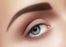 Zakończenie makro- piękny żeński oko Czysta skóra, mody naturel makijaż zdjęcia stock