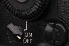 Zakończenie makro- strzał nowożytna cyfrowa SLR kamera Szczegółowa fotografia czarny kamery ciało z klasycznym szerokim apertura  obraz stock
