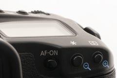 Zakończenie makro- strzał nowożytna cyfrowa SLR kamera Szczegółowa fotografia czarny kamery ciało z klasycznym szerokim apertura  fotografia royalty free