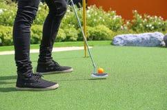 Zakończenie miniaturowego golfa dziura z nietoperzem i piłką Zdjęcia Stock
