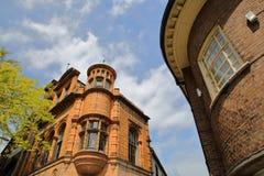 Zakończenie na gruzinu i wiktoriański domach przy Górnym Koźlim pasem ruchu w Norwich, Norfolk, UK fotografia stock