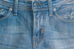 Zakończenie niebiescy dżinsy fartuch, Drelichowa tekstura, makro- tło dla strony internetowej lub urządzenia przenośne, obraz stock