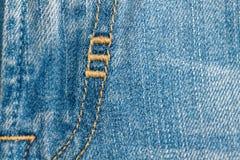Zakończenie niebiescy dżinsy fartuch, Drelichowa tekstura, makro- tło dla strony internetowej lub urządzenia przenośne, fotografia stock
