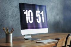 Zakończenie nowożytny komputerowy monitor obrazy stock