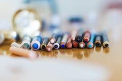 Zakończenie ołówków makeup Piękno mody pojęcie Obrazy Royalty Free