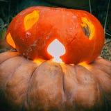 Zakończenie okropny Jack lampion dla Halloween na bani i świecący w jesieni Zdjęcia Royalty Free
