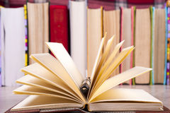 Zakończenie otwarta książka i pióro tylna szkoły Fotografia Stock