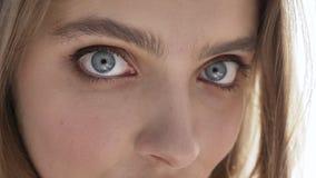 Zakończenie piękni żeńscy Kaukascy niebieskie oczy młode dziewczyny, portret, kuszenie, światło dzienne, blisko okno, zasłona, 50 zdjęcie wideo