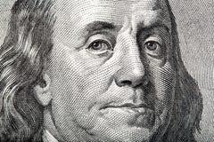 Zakończenie portret Franklin na Amerykańskim pieniądze zdjęcia stock