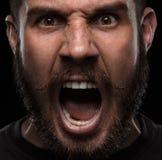 zakończenie portret Gniewny mężczyzna fotografia royalty free
