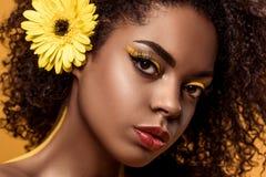 Zakończenie portret młoda zmysłowa amerykanin afrykańskiego pochodzenia kobieta z artystycznym makijażem i gerbera w włosy fotografia royalty free