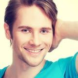 Zakończenie portret młody szczęśliwy mężczyzna Fotografia Royalty Free