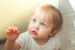 Zakończenie portret piękna chłopiec z niebieskimi oczami i blondynem w promieniach światło fotografia stock
