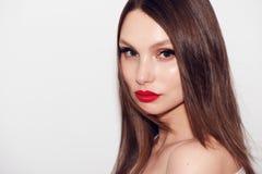 Zakończenie portret piękna kobieta z jaskrawym makijażem Zdjęcie Royalty Free
