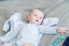 Zakończenie portreta słodki uroczy dziecko Indoors strzelał, pojęcie wizerunek Fotografia Stock
