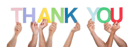 Zakończenie ręki Trzyma słowo Dziękuje Ciebie obraz stock