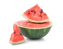 Zakończenie słodki, surowy i soczysty arbuz, odizolowywający na białym tle Odżywcze i organicznie witaminy Lata żniwo fotografia royalty free