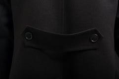 Zakończenie szczegół czarnej kurtki elegancki guzik Fotografia Royalty Free