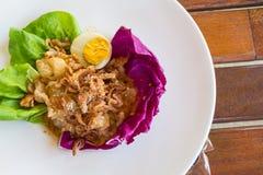 Zakończenie, Tajlandzki jedzenie: pomelo sałatka z gotowanym jajkiem Obraz Royalty Free