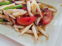 Zakończenie, Tajlandzki jedzenie styl: Lotosowa trzon sałatka Obrazy Stock