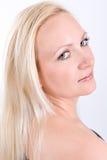 Zakończenie twarz piękna blondynki kobieta z zielonymi oczami Zdjęcia Royalty Free