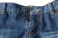 Zakończenie unzipped i rozpinający niebiescy dżinsy Obrazy Stock