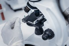 Zakończenie up badacz umieszcza próbkę pod mikroskopem zdjęcia stock