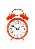 Zakończenie up czerwony dzwonu zegar odizolowywający na bielu (budzik) Obraz Royalty Free