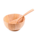 Zakończenie up drewno pusty puchar & x28; drewniany bowl& x29; odizolowywający na bielu plecy Zdjęcia Royalty Free