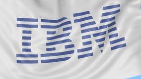 Zakończenie up falowanie flaga z IBM logem, bezszwowa pętla, błękitny tło Redakcyjna animacja 4K ProRes, alfa ilustracja wektor