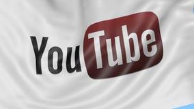 Zakończenie up falowanie flaga z Youtube logem, bezszwowa pętla, błękitny tło Redakcyjna animacja 4K ProRes, alfa royalty ilustracja